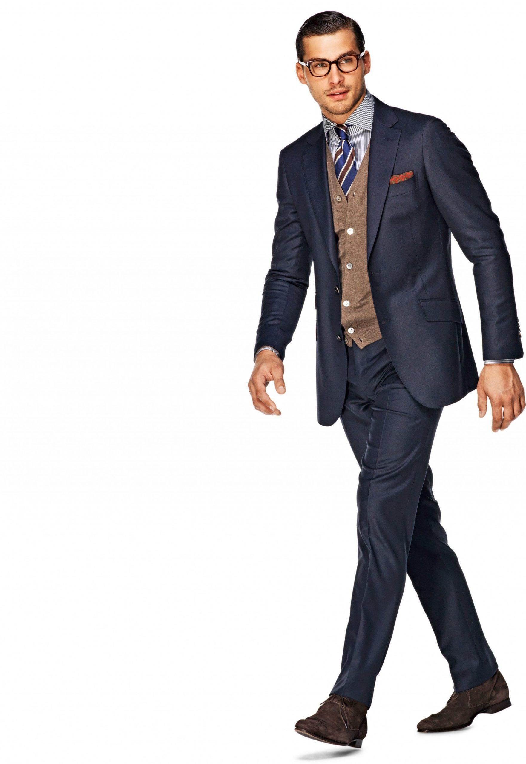 cách mặc bộ vest nam xanh navy